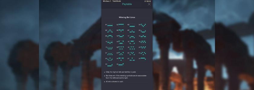 Medusa II - winning bet lines